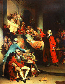 Patrick Henry gives speech for Liberty