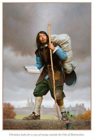 Pilgrim starts his journey with a heavy load.