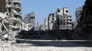 July 31, 2013 Picture shows a devastated street in the Khalidiyah district of Syria's central city of Homs.
