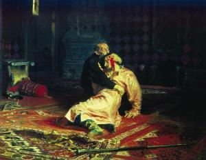 Ivan the Terrible and son painting by Repin