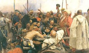 Cossacks and Ottoman Empire Sultan painting