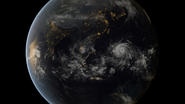 The typhoon moves toward the Philippines