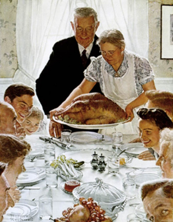 Famous Thanksgiving painting by Norman Rockwell