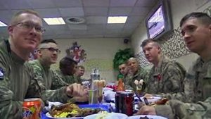 Our military at a Thanksgiving table in Afghanistan