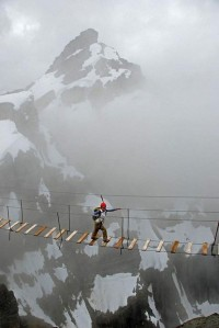 Crossing the bridge on Mt. Nimbus in Canada