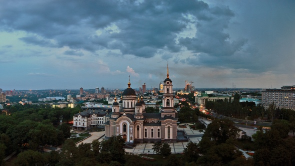 Beautiful cathedral in Donetsk