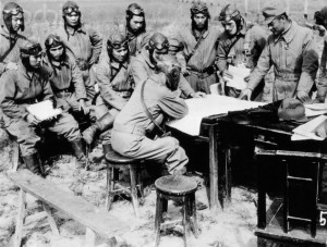 Kamikazi pilots being briefed