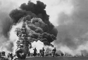 ship hit by kamikaze sucicide pilots