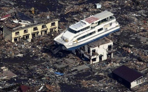Results of tsunami after earthquake  in Japan