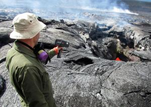 lava pushes into Pahoa, Hawaii. Kilauea Volcano