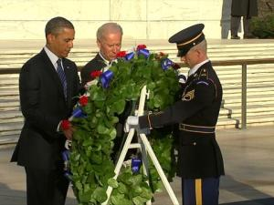 President Obama and V.P Biden lay a wreath to honor veterans