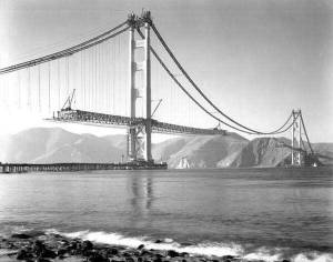 Construction of our infrastructure moved on like the building of the Golden Gate Bridge in 1937 after WWI.