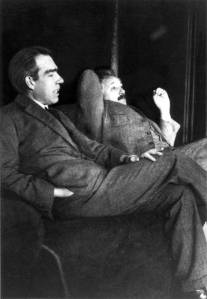 Albert Einstein and Niels Bohr discussing quantum mechanics 1925