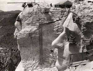 Construction of Mt. Rushmore Nationa Memorial 1939