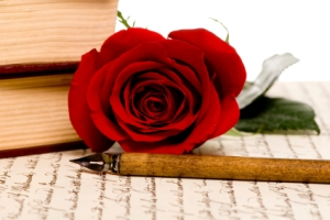 A single red rose lays on top of a hand written document.