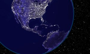 US at night from space