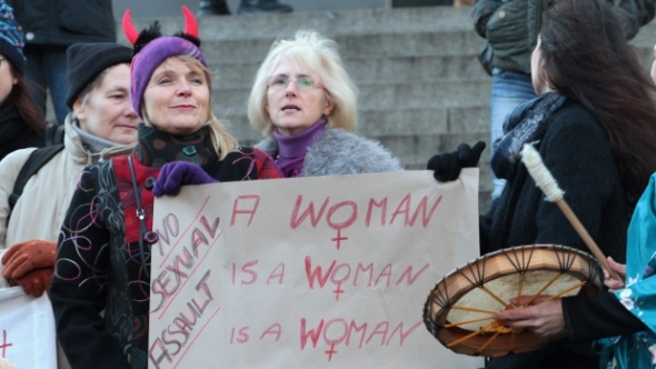women with sign