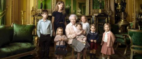 queen Elizabeth and great grandchildren
