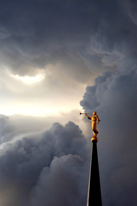 trumpet and clouds