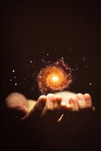 universe and hands