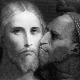 religious Judas kissing Jesus