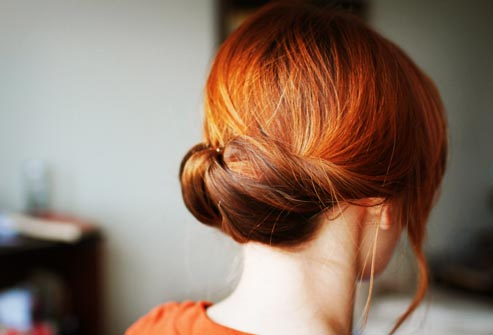 back of head red hair