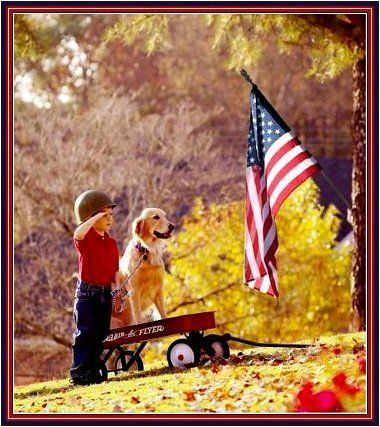 boy and dog and flag