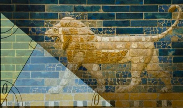 brickwork lion on Babylonian Ishtar's Gate an Pythagorean Proof
