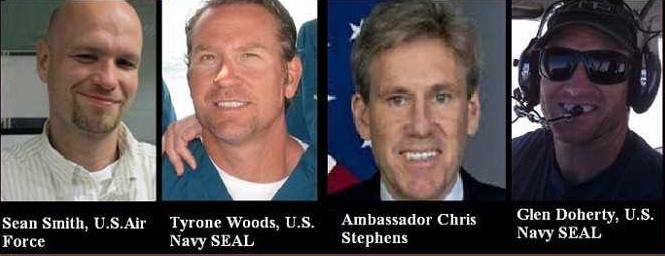 benghazi-victims Sean Smith USAF Tyron Woods Navy Seal Amb Chris Stephens Glen Doherty Navy Seal