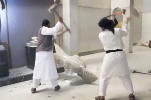 ISIS destroying statues Iraq or Syria