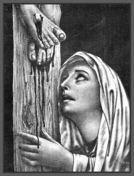 Mary cries at the foot of cross