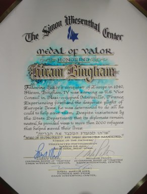 Medal of Valor for Hiram Bingham IV Simon Wiesenthal