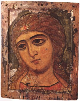 12 century icon Archangel Gabriel called Golden Locked Angel in State Russian Museum