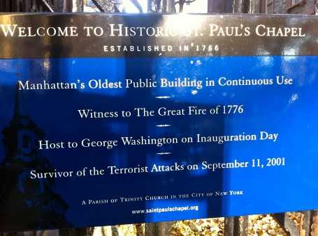9-11 St Paul's chapel sign