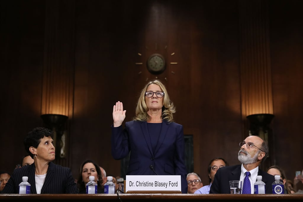 Dr. Christine Ford-sworn-before-testifying-committee