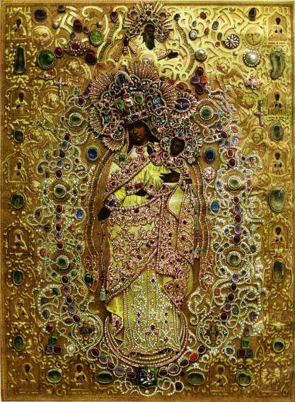 elaborate Russian icon Jo of All Who Sorrow 1862