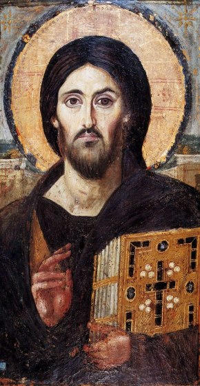 Oldest surviving icon of Christ Pantocrator, encaustic on Panel 6th century at St. Catherine's Monastery Mt Sinai, Egpt