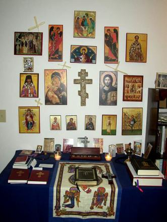 private ome Ortodox Christian icon group and Bibles