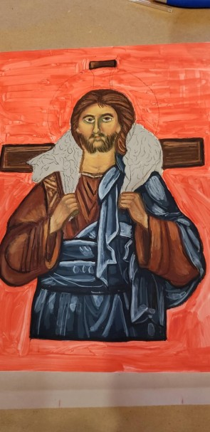 process in painting the Good Shepherd