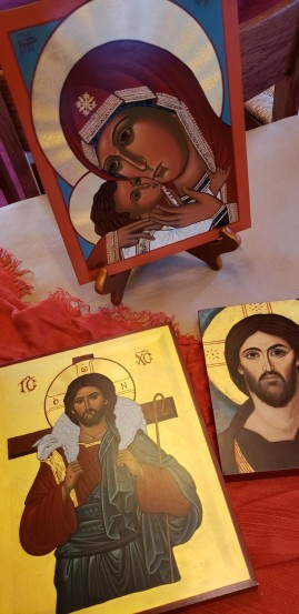 the Good Shepherd and the Madanna and Child icons