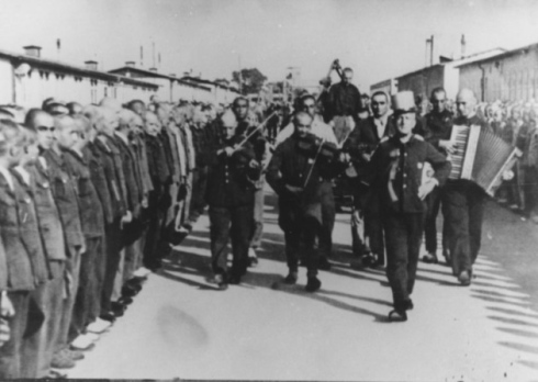 inmate orchestra Mauthausen concen camp Austria Hansbonarewitz to execution photo from Mauthausen Memorial Archive