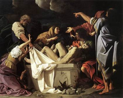 Jesus laid in tomb Schedoni artist