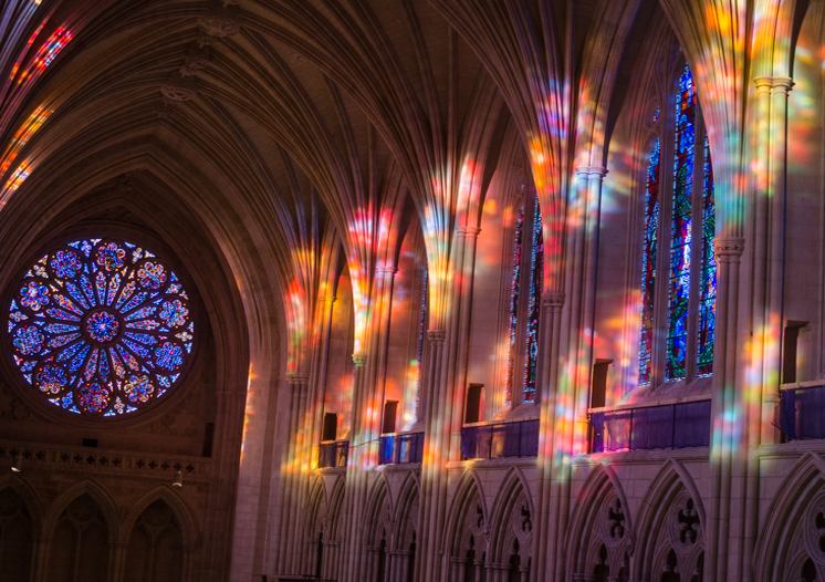 National cathedral inside stained glass