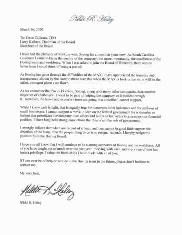 niki haley letter to resign during virus