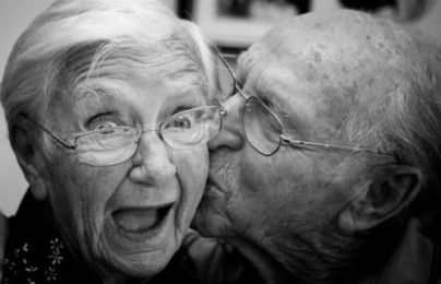 elderly kiss