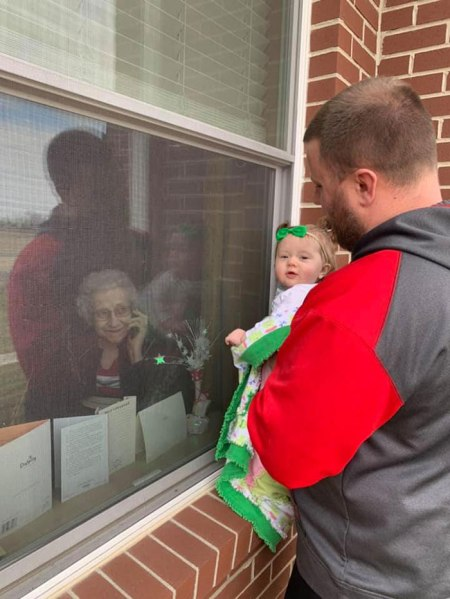 showing grandma the baby