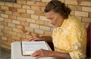 bible reading older lady