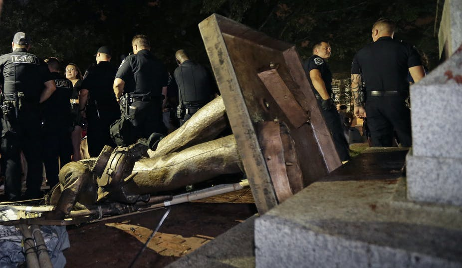 tearing down of confederate statue at UNC